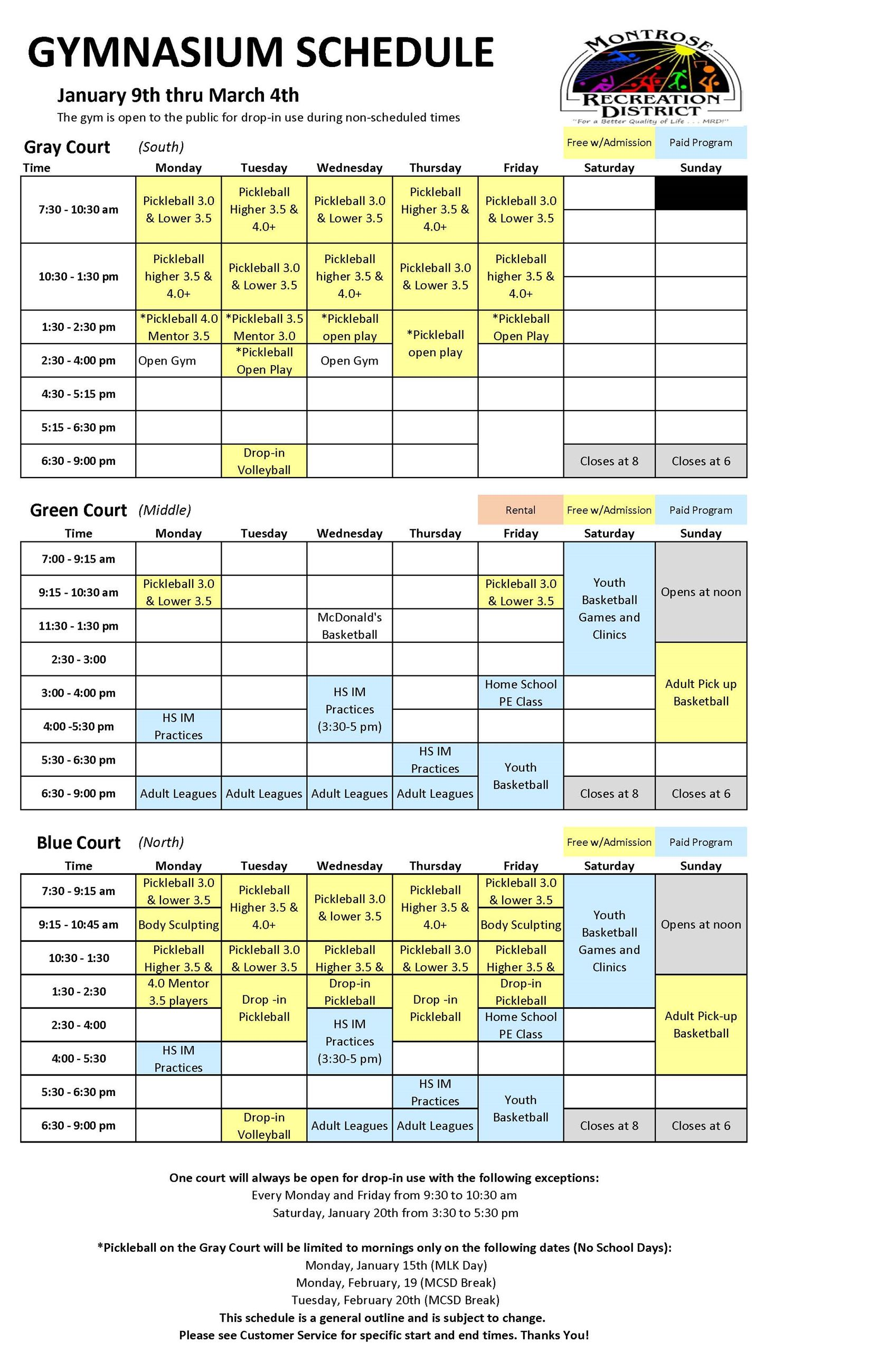 CRC Gym Schedule January to March