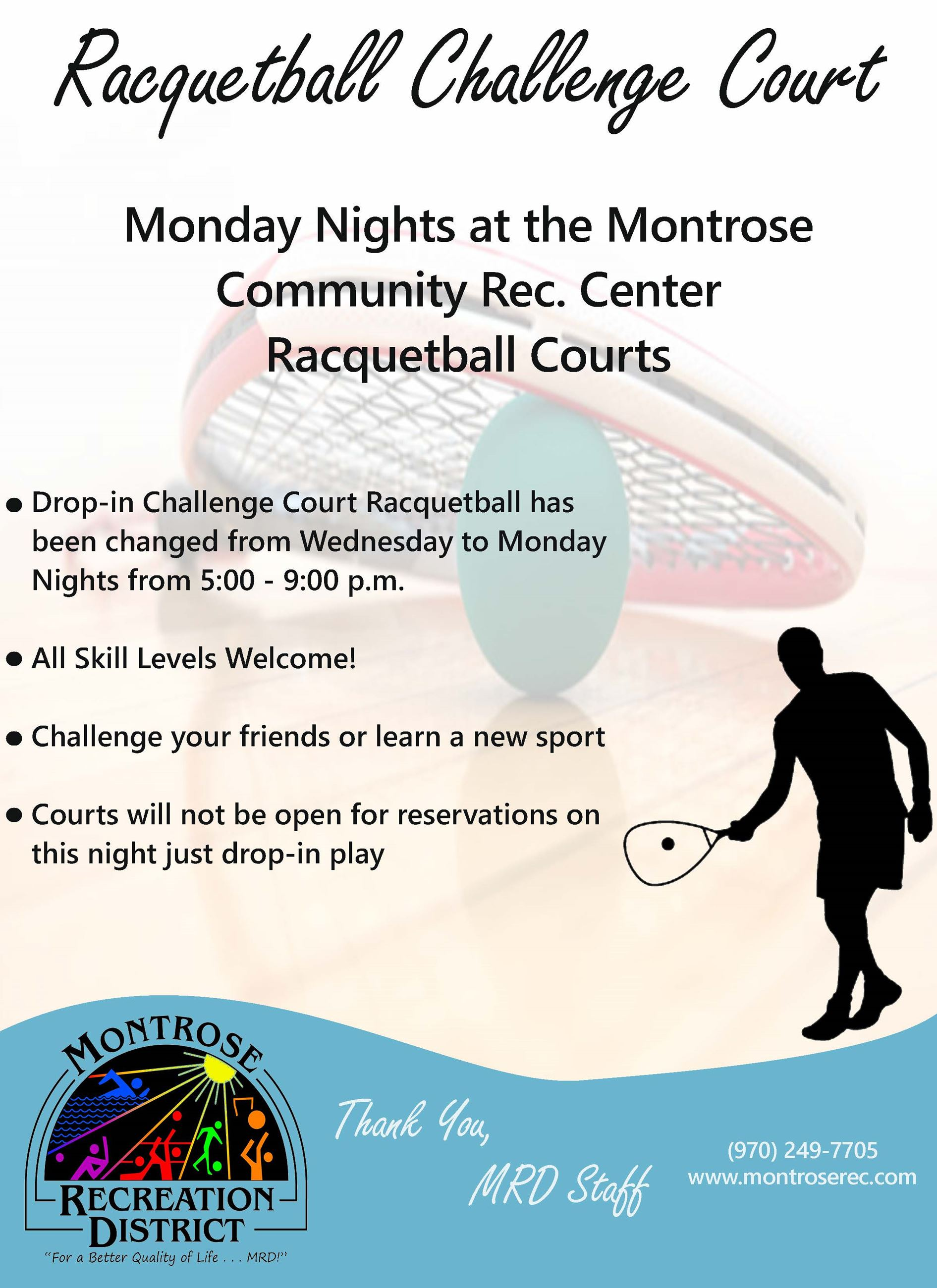 Racquetball Challenge Court Flyer