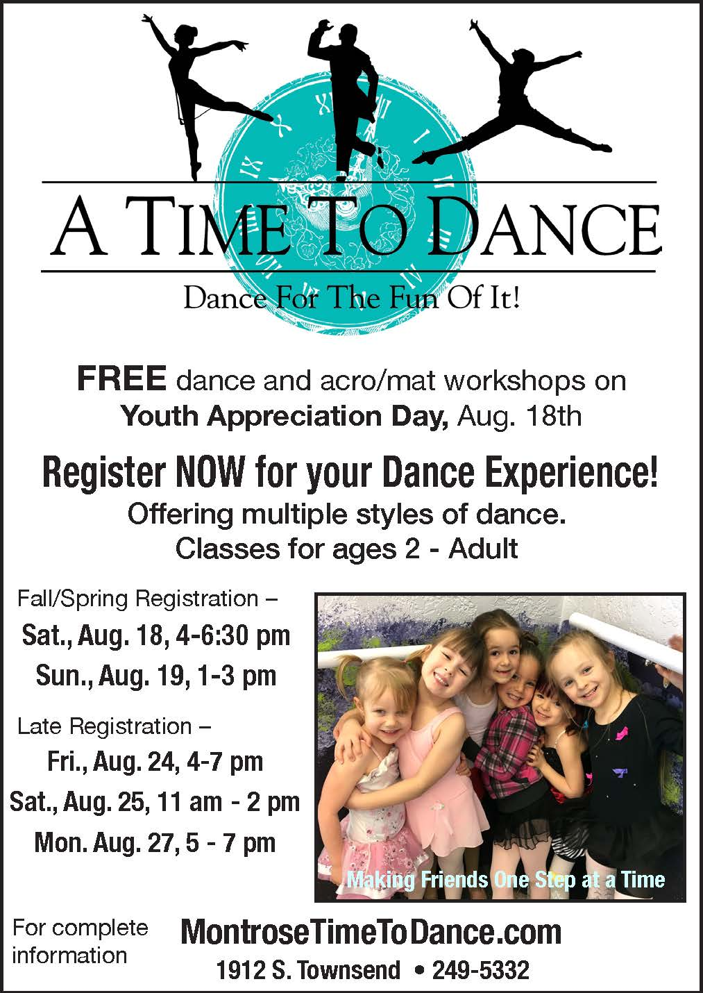 Time to dance quarter page ad fall 18