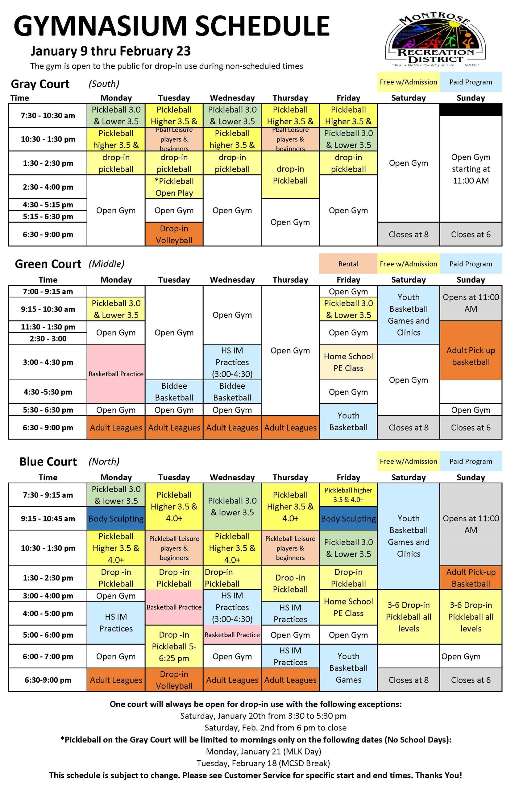 Copy of CRC Gym Schedule  MAIN Jan 2019